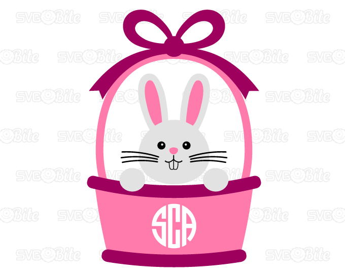 Sweet Bunny On Easter Basket Svg Dxf Png Eps Cutting Files For Cricut Silhouette And More Svgbite